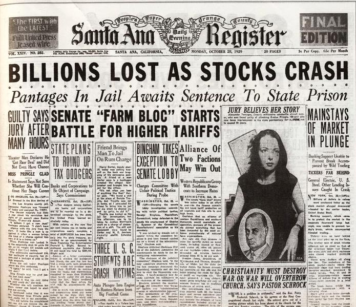 billions lost as stock crashes